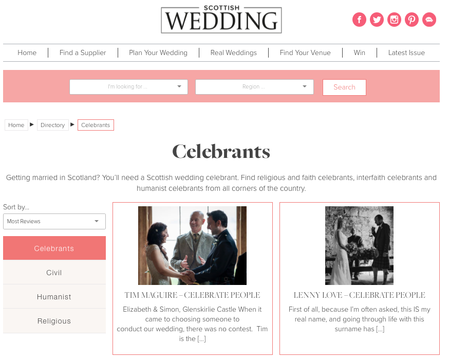 Scottish Wedding Directory Celebrants sorted by reviews